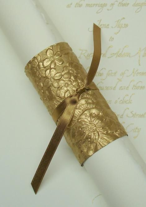 Wedding Scroll Invitations Handmade Paper Elegant