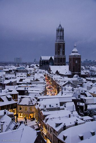 Utrecht, The Netherlands, on snowy night. It's like the inside of a snow globe, seriously!.
