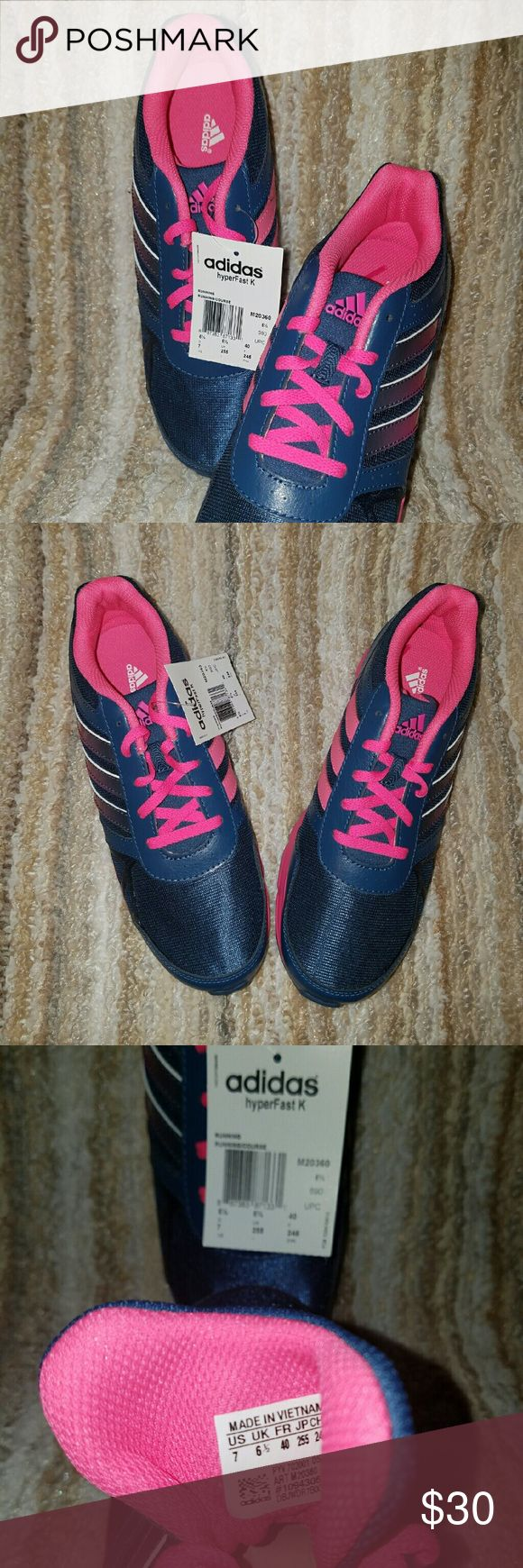 Women's Athletic Shoes Hyperfast K , ortholite, blue/pink. Never worn! Excellent condition Adidas Shoes Athletic Shoes