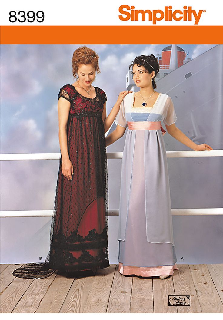 "Simplicity pattern 8399: Misses' Costume. Titanic inspired Industrial-era dress (Pattern released at time ""Titanic"" came out in theaters.  I may have at least one copy of this pattern, which is now out of print.  Not sure what size I have it in, though. - Kate)"