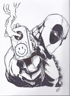 Art Tattoo, Deadpool Tattoo, Deadpool Comic, Book Character, Smiley Face, Comic Book, Deadpool Drawing