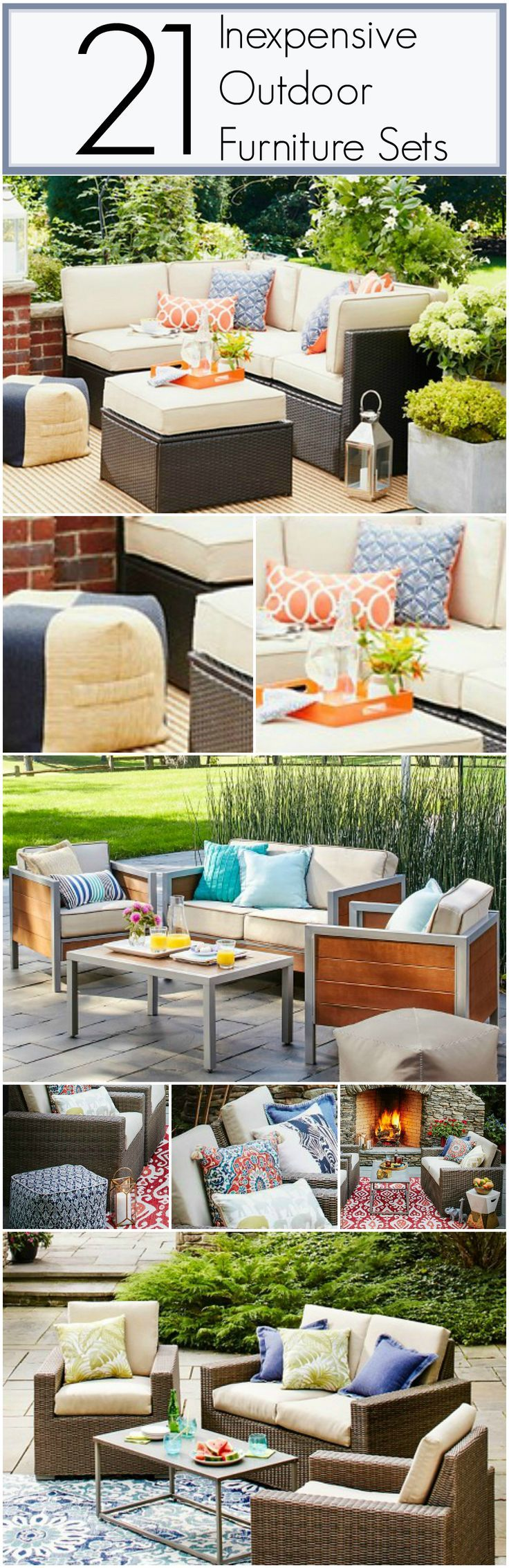 21 Inexpensive Outdoor Furniture Sets! Get an entire patio set for under $900. Most are under $700. High style outdoor living patio furniture on a low budget!.jpg
