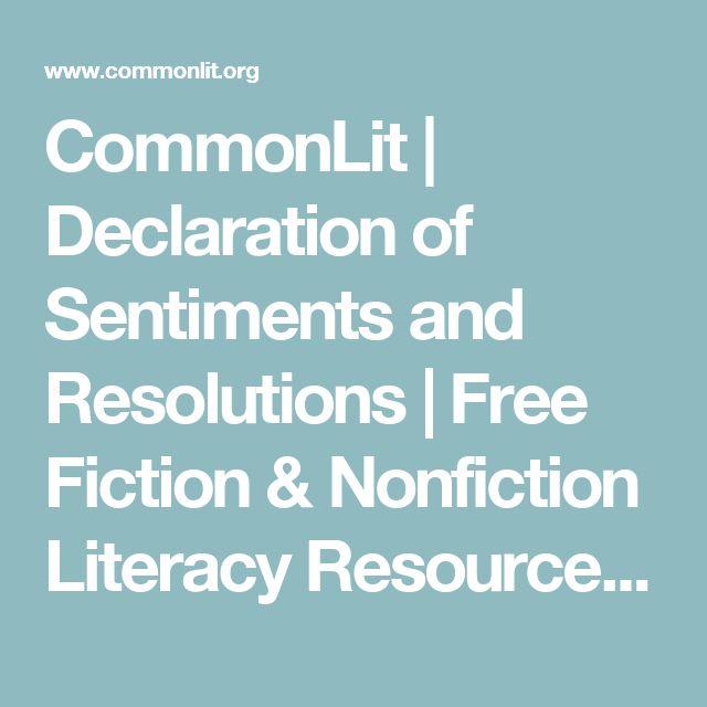declaration of sentiments elizabeth cady stanton  commonlit declaration of sentiments and resolutions fiction nonfiction literacy resources curriculum
