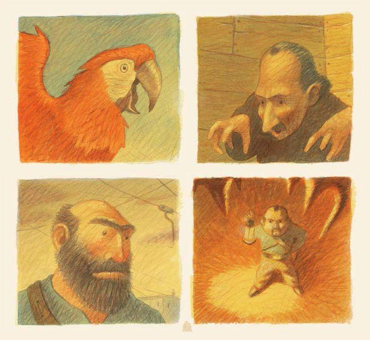 Illustrations by Maurizio Quarello – from 'Mio padre il grande pirata / My father the great pirate' (written by Davide Cali)