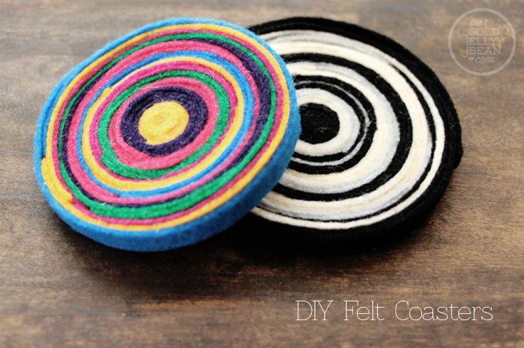 DIY Felt Coasters, put those felt scraps to use! via www.thegoldjellybean.com