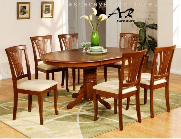 Set Meja Makan Minimalis Oval Classic Furniture
