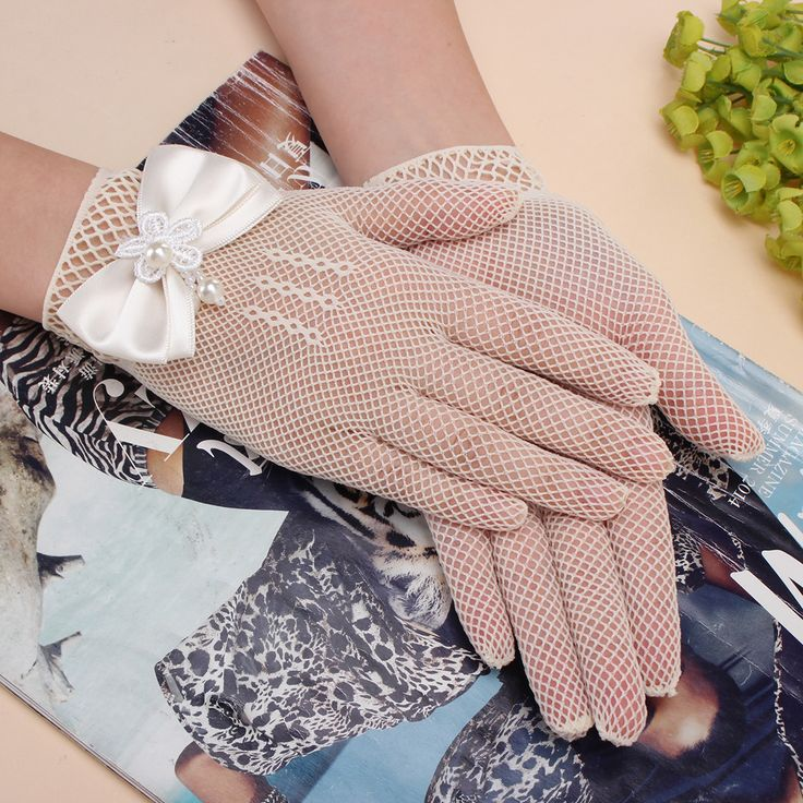 Kids Cream Lace Pearl Fishnet Gloves Communion Wedding Flower Girl Party Cheap - NewChic