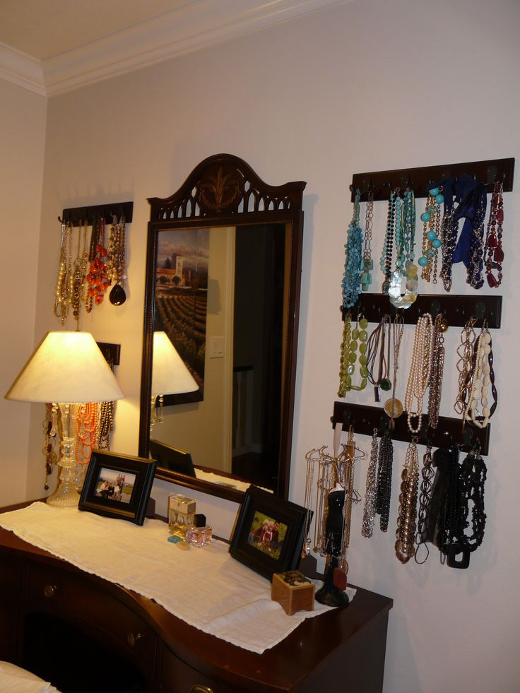 not my room, but this is how I hang my necklaces too.  Keeps them from tangling, and helps you to better see what you have.