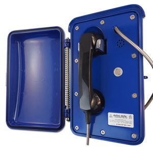Roadside emergency telephone for motorist. The vandal resistant, weather resistant cast aluminum enclosure protects the phone from the environmental conditions. VoIP, Sip, line powered, solar, 3G gsm options available.