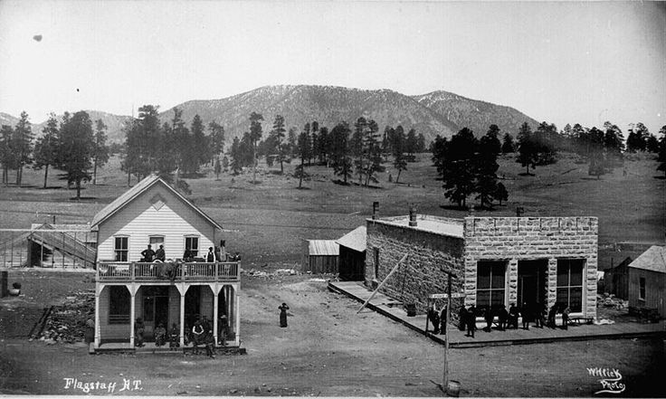 Flagstaff, Arizona  ca. 1899; view of Post Office and other buildings on Terrace Street
