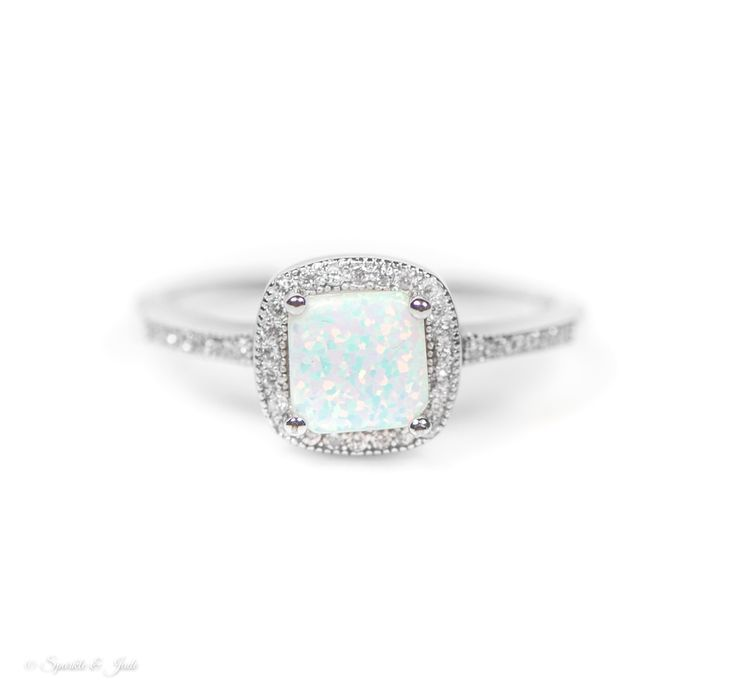 - 9mm Cushion Cut Lab Created Opal - .925 Sterling Silver - Cubic Zirconia Accent Stones