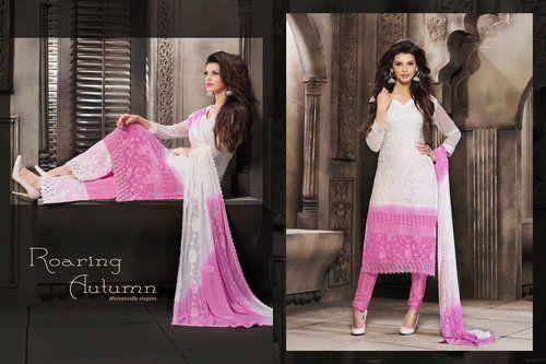 Butta Off White & Orchid Salwar Kameez