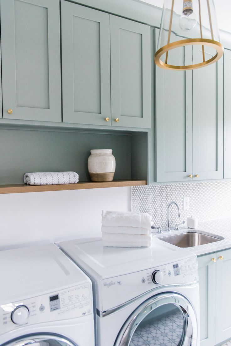 Pretty Muted Grey Mint Green Cabinets In Small Modern Laundry Room