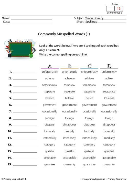 Worksheets Commonly Misspelled Words Worksheet 25 best ideas about commonly misspelled words on pinterest hard primaryleap co uk 1 worksheet