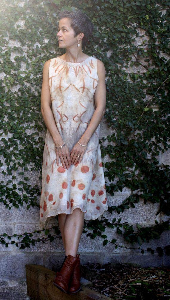 Pixie eco print silk wool nuno felt dress by GinaMastio on Etsy