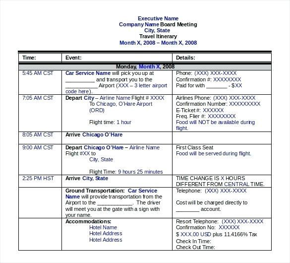All Things Admin Travel Itinerary Template Sample Business Excel