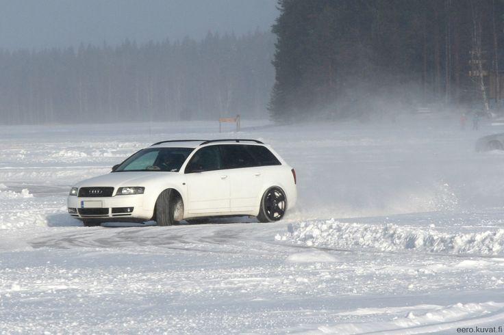 Matte white wrapped quattro having fun on ice #Audi #A4 http://shop.eteippi.fi/