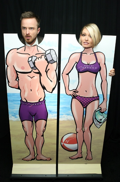 Another photo of Aaron Paul and his girlfriend in the Zerona Hot Body at the 2012 Emmy Awards.