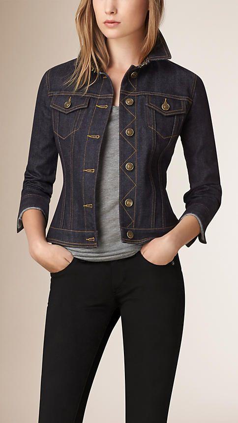 Índigo Jaqueta jeans de ourela japonesa com babado peplum na cintura - Imagem 2