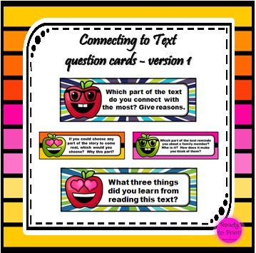 Encourage students to think about what has just been read. Whether you are reading a class novel, participating in guided reading or learning about frogs… these question cards will encourage a broad...