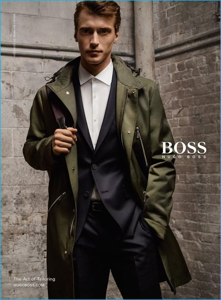 Clément Chabernaud dons a sporty coat for BOSS Hugo Boss' fall-winter 2016 campaign.
