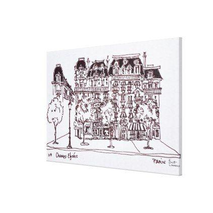 #Haussmann Architecture | Champs Elysees Paris Canvas Print - #travel #art