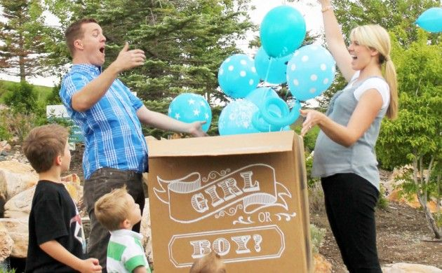 BabyZone: 15 Fun Ideas For Throwing A Gender Reveal Party | Gender Reveal Balloons In A Decorative Box