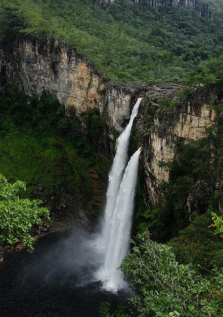 120m waterfall at Chapada dos Veadeiros, Alto Paraiso de Goias
