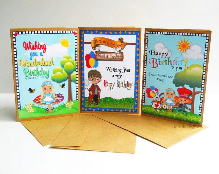 3 x Harry Potter & Alice In Wonderland Birthday Greeting Cards