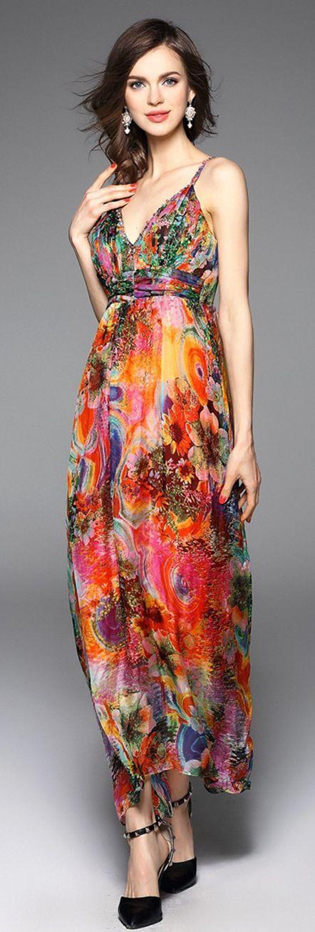 Orange Spaghetti Straps Floral Maxi Dress