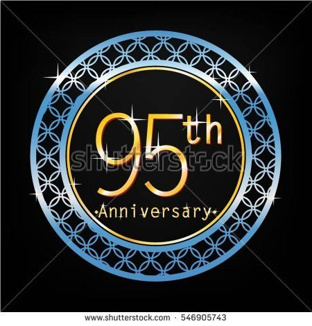 black background and blue circle 95th anniversary for business and various event