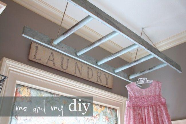 Ladder Laundry Rack, 20 Laundry Room Organization Ideas via A Blissful Nest