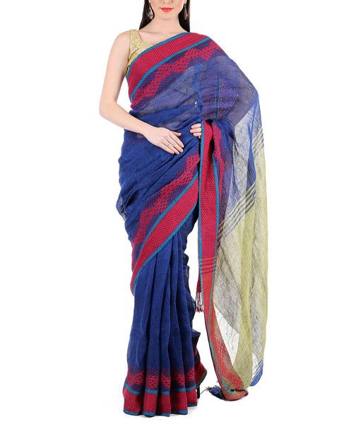 Stock up your summer wardrobe with Zoyashi's Linen Blue Saree with Mustard Pallu and Red Embroided Border