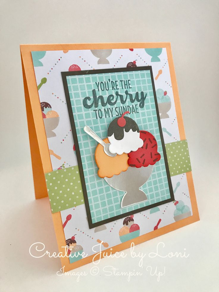 Stampin' Up! Cool Treats, Tasty Treats DSP, Sundae, Card, www.creativejuicebyloni.com