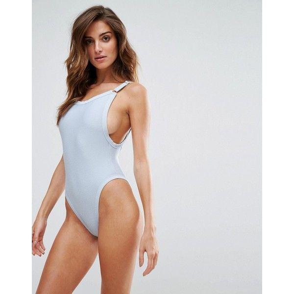 Twiin Rib Swimsuit ($57) ❤ liked on Polyvore featuring swimwear, one-piece swimsuits, blue, swimming costume, blue bikini, bikini swimwear and swim wear