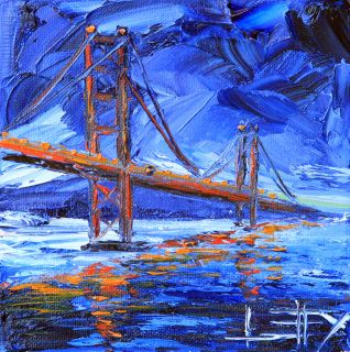 A beautiful California scene captured by my palette knife with a lot of texture, movement and reflective light. This original painting works well in a bedroom, living room, kitchen, hallway or office. The coastal color palette and textured style fits in well with many decorating styles.  T I T L E: San Francisco Memory by Lisa Elley.  Y E A R: 2016  S I Z E: 6 X 6 X 1.5 Inches.   M A T E R I A L S: Artist quality oil paints, Archival quality, gallery wrapped canvas.  P A I N T I N G S H I P…