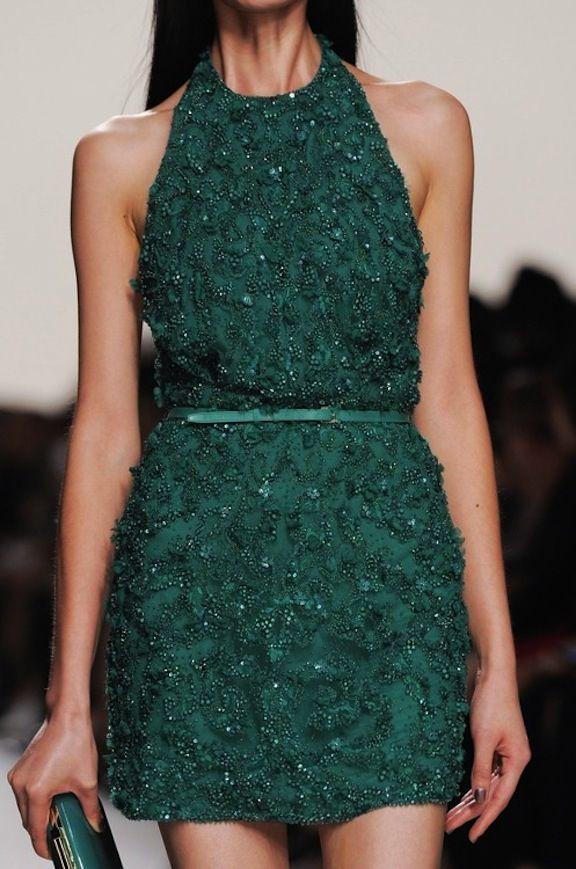 Ellie Saab green detailed mini dress
