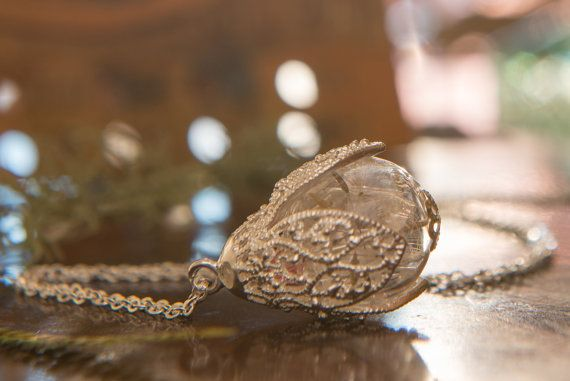 Real Dandelion Wish Necklace wish necklace by LomharaJewellery