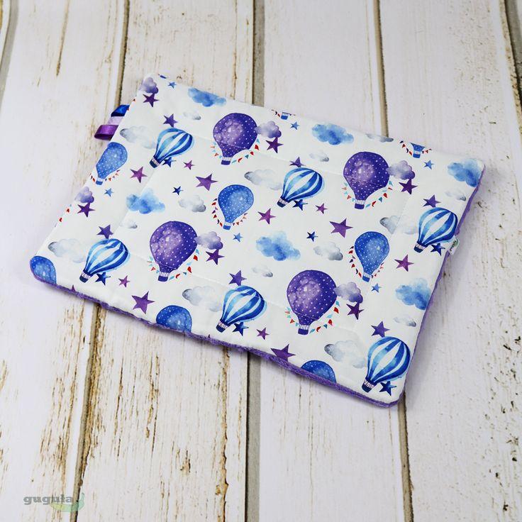 Poduszka płaska minky fioletowy/baloniki