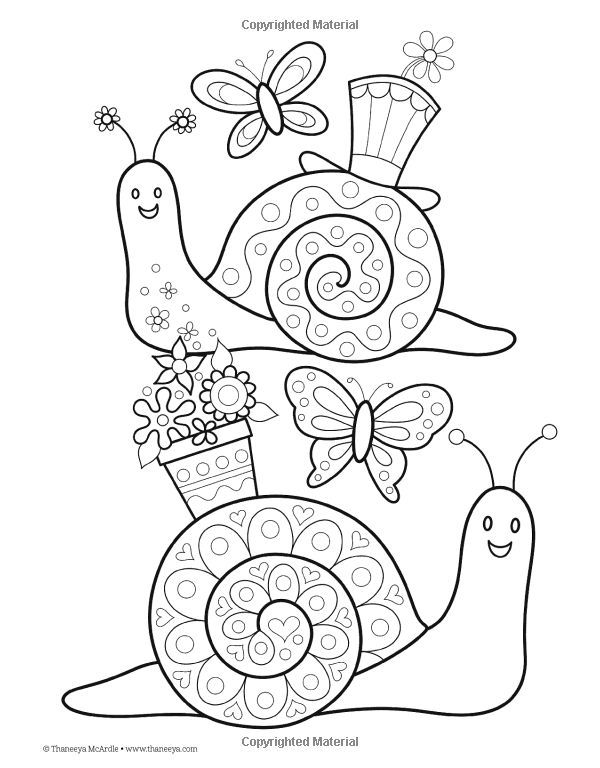 Cute snails colouring page Applique