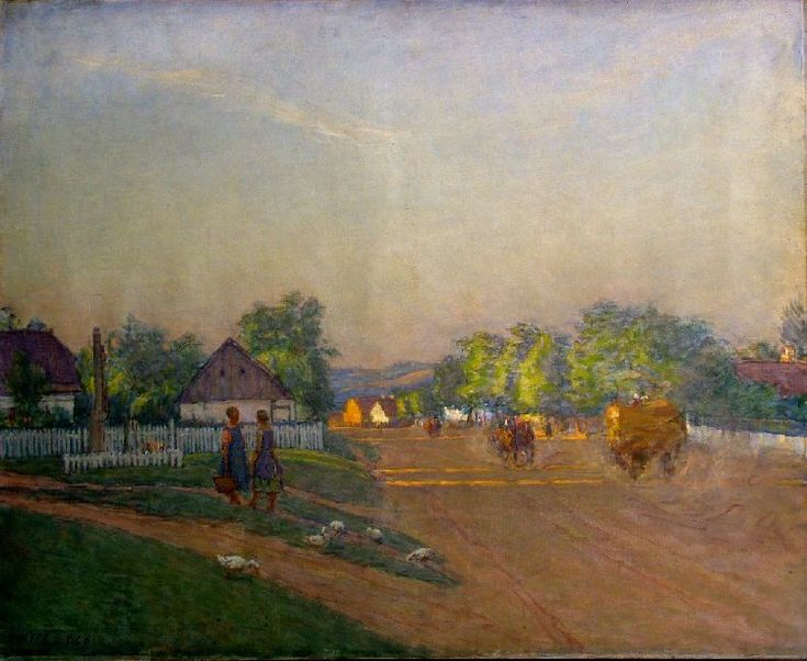 Street in summer twilight, Somogytúr | Kunffy Lajos | 1928 | Rippl - Rónai Megyei Hatókörű Városi Múzeum - Kaposvár | CC BY