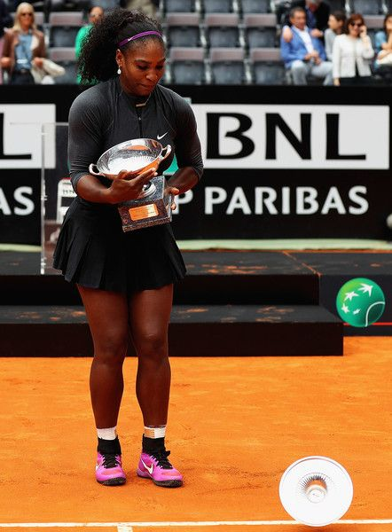 Serana Williams of the United States looks on, after the lid fell off the trophy after winning against Madison Keys of the United States during the Womens Singles Finalduring day eight of The Internazionali BNL d'Italia 2016 on May 15, 2016 in Rome, Italy.