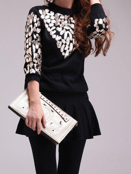 Black Half Sleeve Geometric Embroidered Sweatshirt