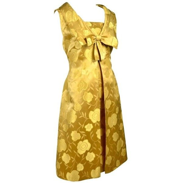 Preowned 1960s Vintage Cocktail Dress Gold Brocade Satin W/ Sleeveless... (5 845 ZAR) ❤ liked on Polyvore featuring dresses, brown, cocktail dresses, yellow floral dress, gold evening dresses, satin cocktail dress, evening dresses and floral print cocktail dress