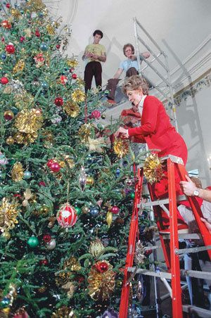 Nancy Reagan, 1982, working with the very talented volunteers who spend hours and hours working to make the White House magical every year.