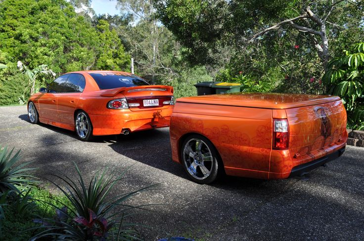 Commodore and ute back trailer.