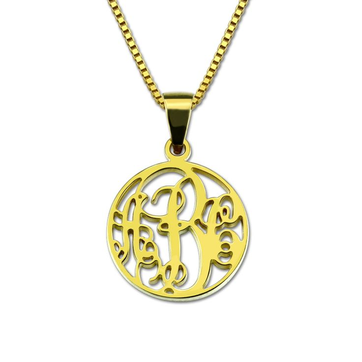 Wholesale Monogram Necklace Letter&Initial Necklace Gold Color Circle Monogrammed Pendant Grandma Mom Necklace Monogram Gift