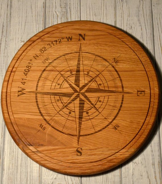 Compass Coordinates Round wood pizza cutting board Custom Engraved Big Round Anniversary Gift. Gift idea. Ingredients of pizza.. Oak wood