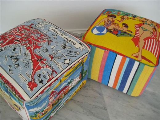 Suzie Stanford Australiana tea-towel stools
