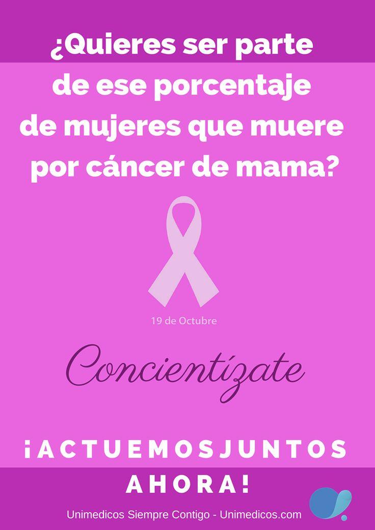 Quieres ser parte de ese porcentaje de las mujeres que mueren de cáncer de mama? Concientizate Actuemos Juntos